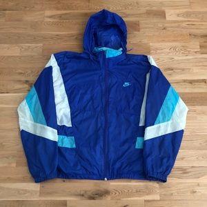 Vintage 90's Nike Aqua Blue Windbreaker Jacket VTG